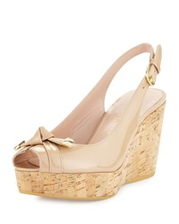 Stuart Weitzman Chatter Knotted Patent Wedge Sandal Adobe