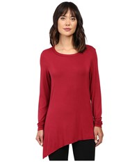 Trina Turk Long Sleeve Drape Shirt Wine Women's Clothing Burgundy