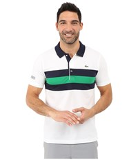 Lacoste Sport Super Light Knit Tennis Polo White Navy Blue Field Green Men's Clothing