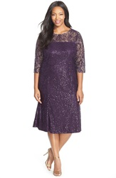 Alex Evenings Sequin Lace Tea Length Dress With Illusion Yoke And Sleeves Plus Size Eggplant