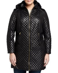S. Rothschild And Co. Hooded Zip Front Quilted Puffer Coat Black