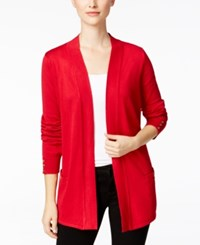Charter Club Open Front Cardigan Only At Macy's New Red Amore