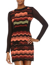 M Missoni Zigzag Mesh Panel Long Sleeve Dress Orange Multi