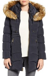 Laundry By Shelli Segal Women's Hooded Down And Feather Fill Coat With Detachable Faux Fur Trim Mystic Blue