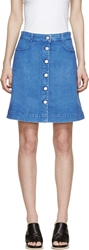 Stella Mccartney Ultra Blue Denim Buttoned Short Skrt