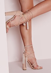 Missguided Lace Up Tassel Block Heel Sandals Nude Beige