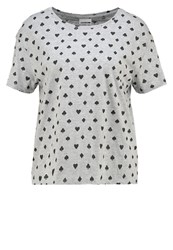 Noisy May Nmsharon Print Tshirt Light Grey Melange Mottled Light Grey