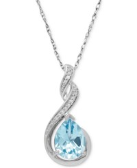 Macy's Aquamarine 1 3 4 Ct. T.W. And Diamond Accent Swirl Pendant Necklace In Sterling Silver