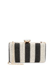 La Regale Striped Woven Minaudiere Charcoal
