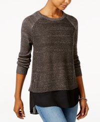 Amy Byer Bcx Juniors' High Low Layered Look Sweater Dark Gray