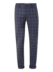 Topman Navy Check Stretch Slim Trousers Blue
