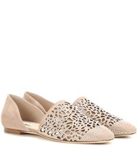 Jimmy Choo Globe Perforated Crystal Embellished Suede Ballerinas Neutrals