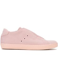 Leather Crown Perforated Sneakers Pink And Purple