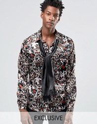 Reclaimed Vintage Party Shirt With Neck Tie In Reg Fit Black
