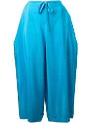 Wide Leg Cropped Trousers Blue