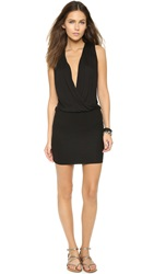 Lanston Surplice Mini Dress Black