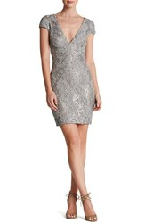 Women's Dress The Population 'Zoe' Embellished Mesh Body Con Dress Pewter