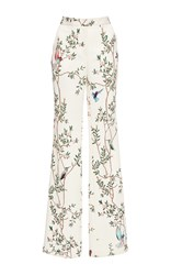 Monique Lhuillier Pebble Jacquard Straight Leg Pant White