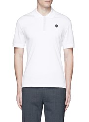 Alexander Mcqueen Logo Stud Placket Polo Shirt White