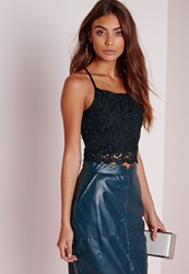 Missguided Cross Back Lace Cami Top Navy Blue