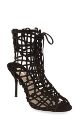 Sophia Webster Women's 'Delphine' Metallic Leather Cage Bootie Black Suede