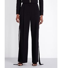 Givenchy Wide Leg Crepe Trousers Black