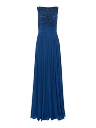 Untold Sleeveless Gown With Beaded Mesh Top Navy