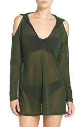 Robin Piccone Women's Cold Shoulder Mesh Cover Up Hoodie