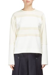 Cedric Charlier Striped Long Sleeve Blouse White Ivory