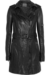 Muubaa Tara Leather Coat Black