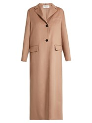 Valentino Pano Single Breasted Wool And Cashmere Blend Coat Nude