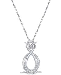 Macy's Diamond Infinity Owl Pendant Necklace 1 10 Ct. T.W. In Sterling Silver