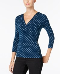 Charter Club Geo Print Faux Wrap Top Only At Macy's Dark Azure Blue Combo