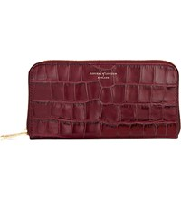 Aspinal Of London Continental Mock Croc Leather Clutch Wallet Bordeaux