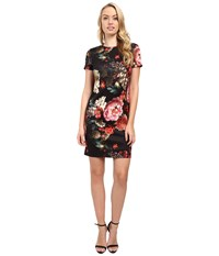 Christin Michaels Floral Print T Shirt Dress Black Pink Women's Dress