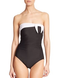 Miraclesuit Swim One Piece Bandeau Swimsuit Black White