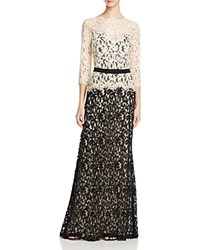 Tadashi Shoji Gown Three Quarter Sleeve Lace Belted Latte Black