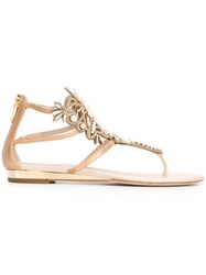 Rene Caovilla Embellished Flat Sandals Nude And Neutrals