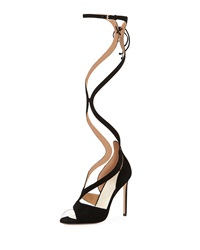Francesco Russo Wavy Suede Gladiator Pump Nero