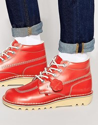 Kickers Kick Hi Leather Boots Red