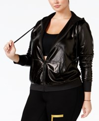 Material Girl Active Plus Size Metallic Fleece Hoodie Only At Macy's Noir Metallic
