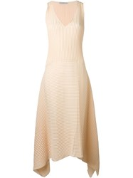 Dusan Pleated Trapeze Hem Dress Nude And Neutrals