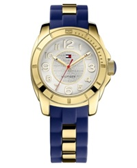 Tommy Hilfiger Watch Women's Gold Tone Stainless Steel And Navy Silicone Strap 38Mm 1781307