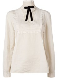Dsquared2 Embroidered Lace Blouse Nude And Neutrals