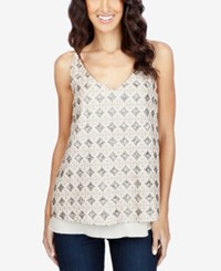 Lucky Brand Printed Layered Look Tank Top Feather Grey