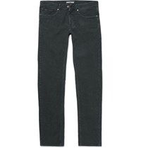 Incotex Slim Fit Textured Stretch Cotton Jeans Dark Gray