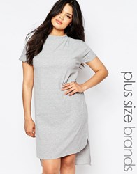 Pink Clove Lounge Short Sleeve Longline Ribbed Tunic Grey