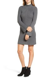 Sequin Hearts Women's Bell Sleeve Knit Sweater Dress Dark Grey