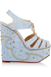 Charlotte Olympia Gene Embellished Denim Wedge Sandals Blue