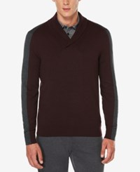 Perry Ellis Men's Jacquard Shawl Collar Sweater Red